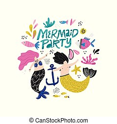 Mermaid party hand drawn vector lettering