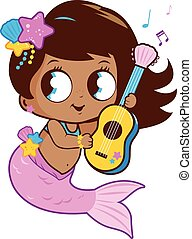 Vector Illustration of a cute mermaid playing music with her guitar.