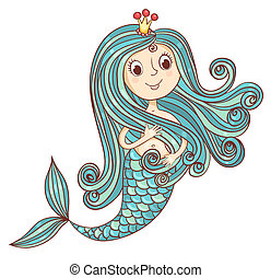 Mermaid princess isolated on white. Vector cartoon...