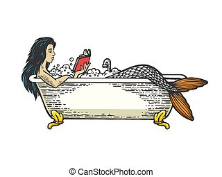 Mermaid reading book in bath color sketch engraving vector illustration. Scratch board style imitation. Black and white hand drawn image.