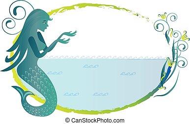 Mermaid silhouette logo frame vector image design