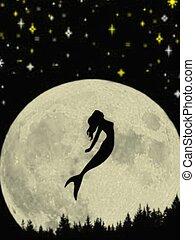 Mermaid silhouette - Mermaid and full moon