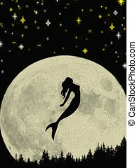 Mermaid silhouette - Mermaid and full moon