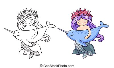 Mermaid, sitting on a rock, holding narwhal.