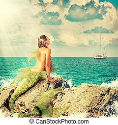Mermaid sitting on rocks - Beautiful Mermaid with fish tail...