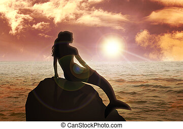 Mermaid - A mermaid sitting on the rock during sunset