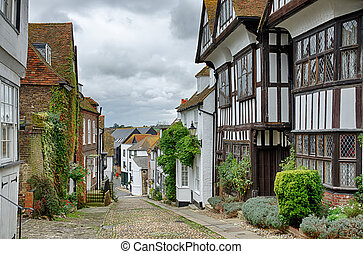 Mermaid Street, in the English town of Rye - Mermaid Street,...