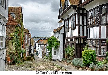 Mermaid Street, in the English town of Rye - Mermaid Street,...