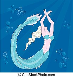 mermaid swimming in the depths