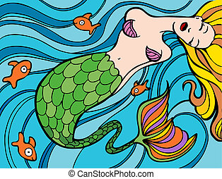 Mermaid swimming in the ocean with gold fish.