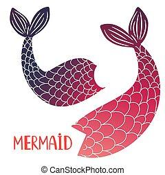 Mermaid tails vector isolated on white background