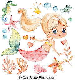 Mermaid Watercolor Character Sea Horse Ocean Kit