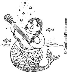 Mermaid with a guitar ink illustration