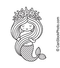Mermaid with a wreath of starfish, holding her long beautiful hair.
