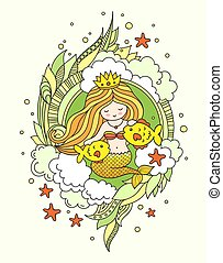 Mermaid with beautiful long golden hair and two little fish. Vector colored illustration for card, postcard, invitation.