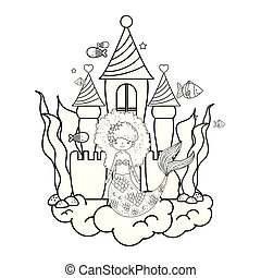 mermaid with castle undersea scene vector illustration design