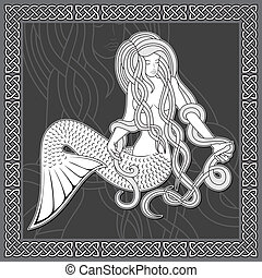 Mermaid with celtic border - Illustration of a sitting...
