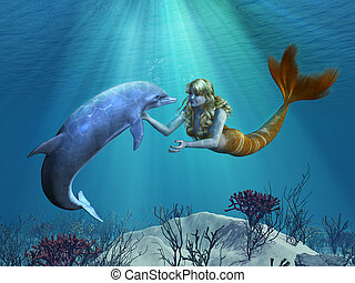 Mermaid with Dolphin Undersea - A friendly dolphon greets a...