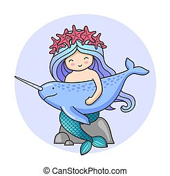 Mermaid with narwhal, sitting on a rock.