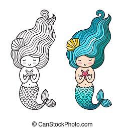 Mermaid with starfish. Cute cartoon character.