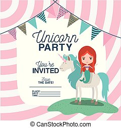 mermaid with unicorn invitation card