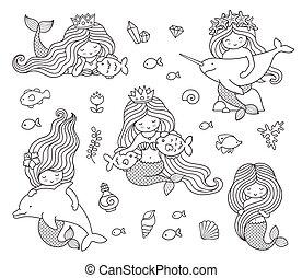 mermaids, 大きい, 別, セット, animals.