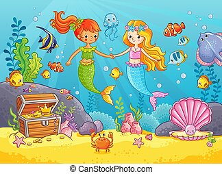 Mermaids among the fishes hold hands.