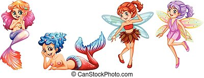 Mermaids and Fairies - Two cute mermaids and two fairies