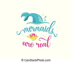 Mermaids are real. Mermaid tail, bubbles and cute fish....