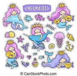 Mermaids, dolphin, narwhal, fish, jellyfish.