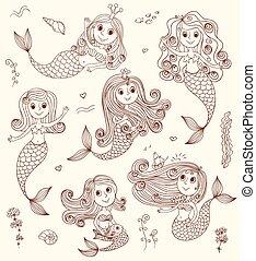 mermaids, doodle, set.