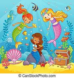 Mermaids play under the water.