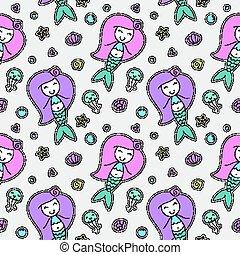 mermaids seamless pattern