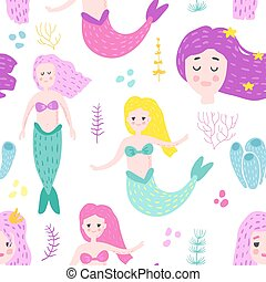 Mermaids Seamless Pattern in Childish Style. Kids Background with Cute Marine Girls and Abstract Elements for Fabric Textile, Wallpaper, Decoration. Vector illustration