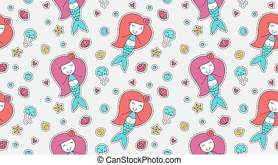 mermaids seamless pattern