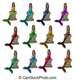 Mermaids Sitting On A Pedestal - Mermaids sitting on a...