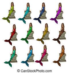Mermaids Sitting On A Pedestal - Mermaids sitting on a...
