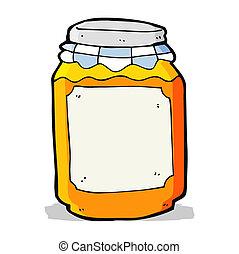 mermelada, tarro, caricatura