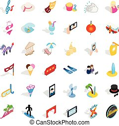 Merriment icons set, isometric style - Merriment icons set....
