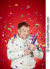 Merriment - Portrait of joyful man in white pullover having...