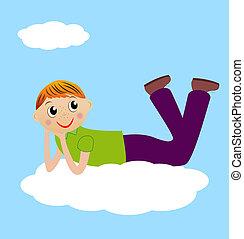 merry boy lie on cloud
