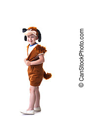 Merry boy posing in dog costume, isolated on white