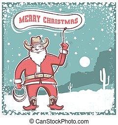 .merry, card., roteare, cowboy, claus, stivali, santa,...