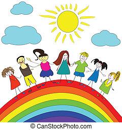 Merry children and rainbow, happy life