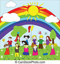 Merry children background with rainbow and sun