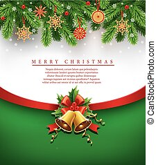 merry chrismas background with traditional decorations -...