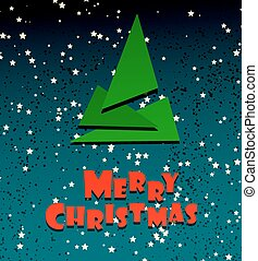 Merry Chrismas festive creative card template. Xmas tree ...