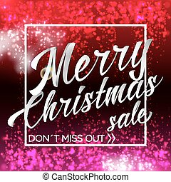 Merry Chrismas Sale Lettering Bright Banner With Sparkles