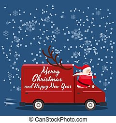 Merry Chrismas Santa Claus Van delivering gifts. Flat ...