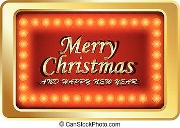 Merry Chrismas with red background and lamp - full color